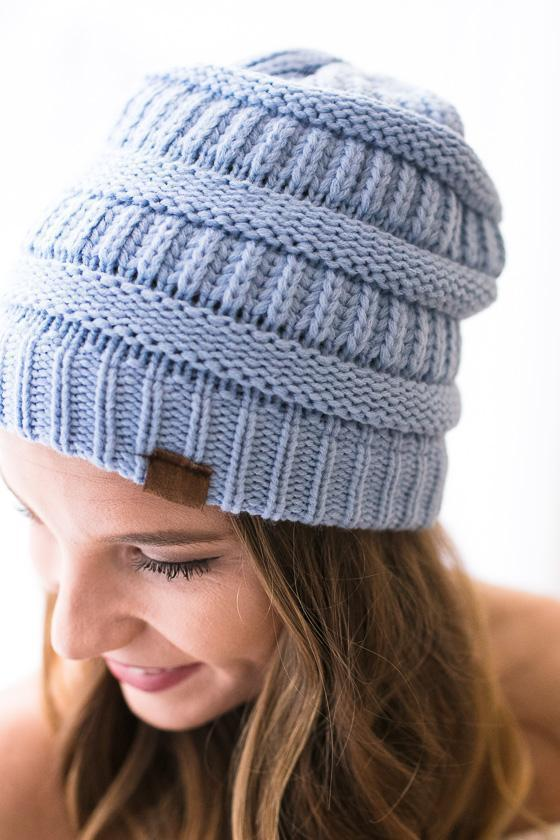 Accessories Colorado Peak Cable Knit Beanie- Light Blue - Lotus Boutique