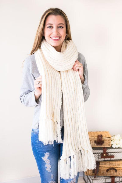 Accessories - Long Days Long Knit Scarf- Ivory
