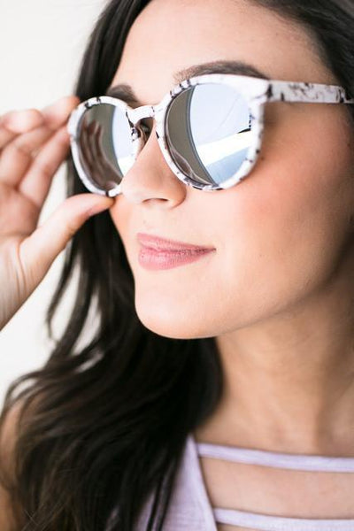 Accessories Prep Marble Grey Mirror Shades - Lotus Boutique