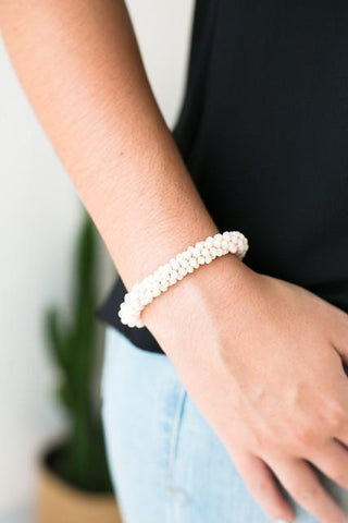 Stack Roll On Cream Beaded Bracelet