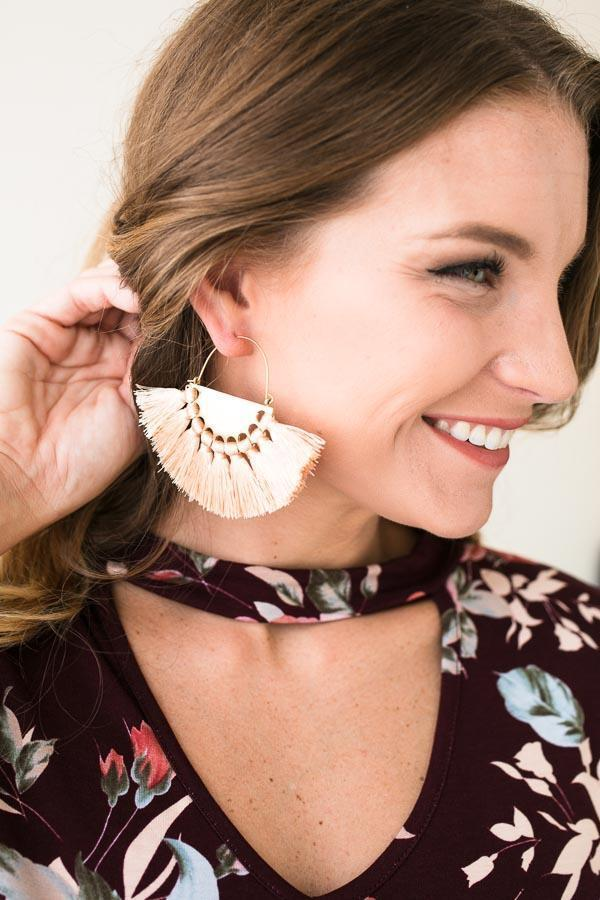 Accessories - The Mack Tassel Earrings In Peach