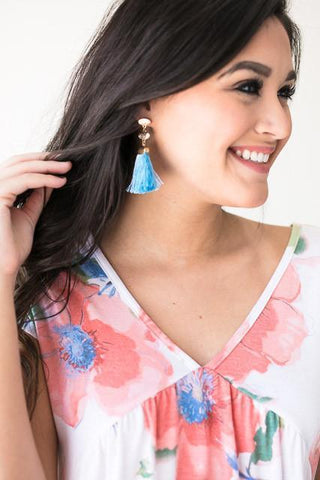 Travel Wide Tassel Earrings - Blue