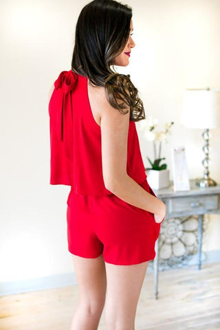 Record Year Red Choker Neck Romper