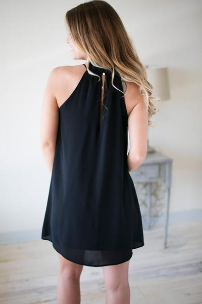 Dresses Crazy In Love Black Ruffle Neck Dress - Lotus Boutique
