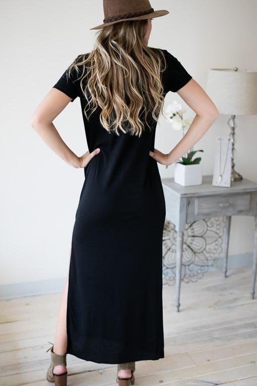 Lean On Me Maxi Dress - Black-Dresses-Lotus Boutique-Lotus Boutique