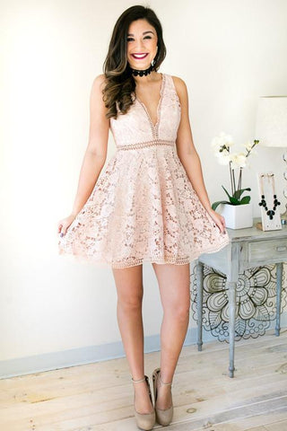 Stately Rose Fancy Lace Dress - Blush