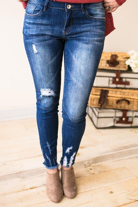 Bottoms - All The Right Places Basic Distressed Skinny Jeans
