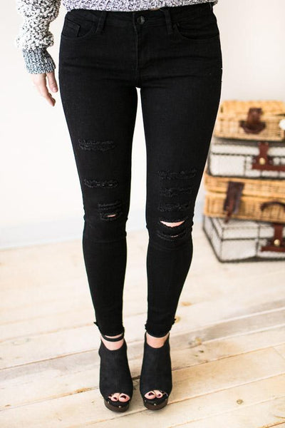 Bottoms - Amuse Society Black Distressed Jeans