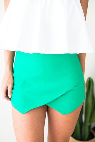 Behind These Hazel Eyes Green Envelope Skort