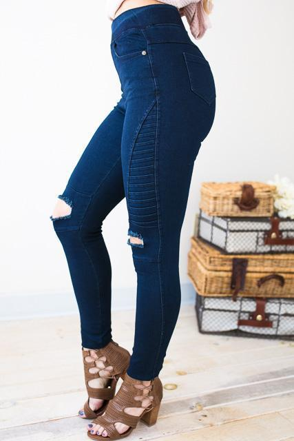 1486afab5ae788 Bottoms - Best Of Both Worlds Distressed Moto Legging