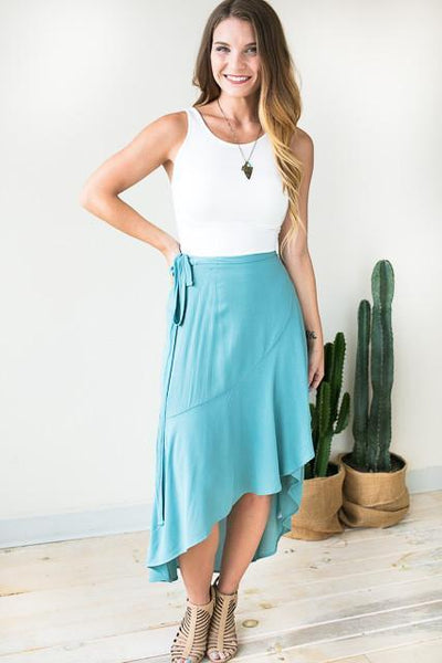 Bottoms Catching Glances Wrap High Low Skirt - Lotus Boutique