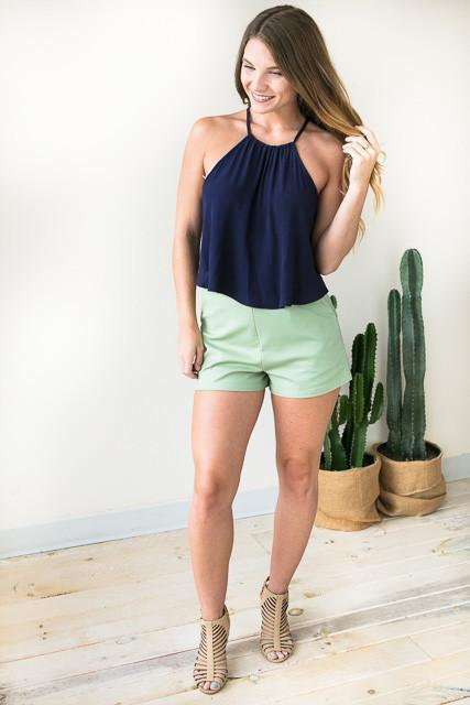 Classic Style High Waist Shorts - Sage