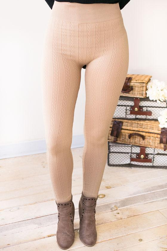 Bottoms - Comfort Over Everything Cable Detail Leggings - Beige