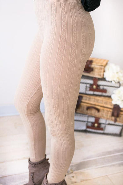 Bottoms Comfort Over Everything Cable Detail Leggings - Beige - Lotus Boutique