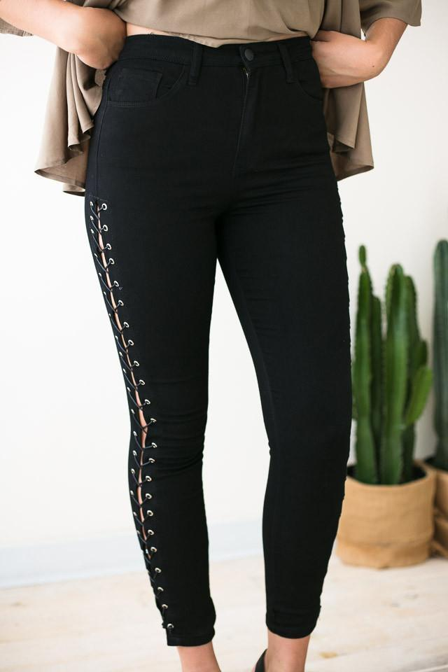 Bottoms Dynamite Lace Up Black Jeans - Lotus Boutique