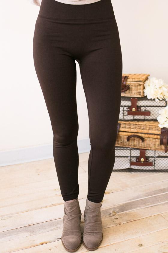 Bottoms - Easy Days Fleece Lined Leggings - Brown