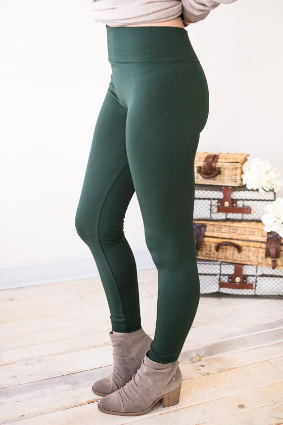 Bottoms Easy Days Fleece Lined Leggings- Olive - Lotus Boutique