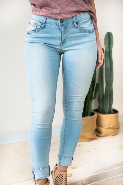 Bottoms Essential Light Wash Skinny Jeans - Lotus Boutique