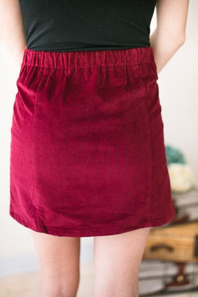 Bottoms Friends Forever Burgundy Corduroy Skirt - Lotus Boutique