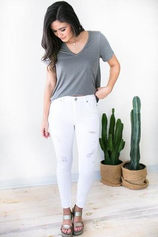 High Standards White Distressed Jeans