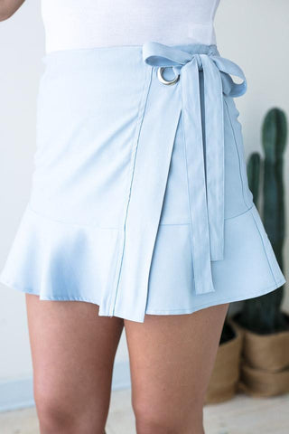 Hometown Wrap Ruffle Skirt in Light Blue