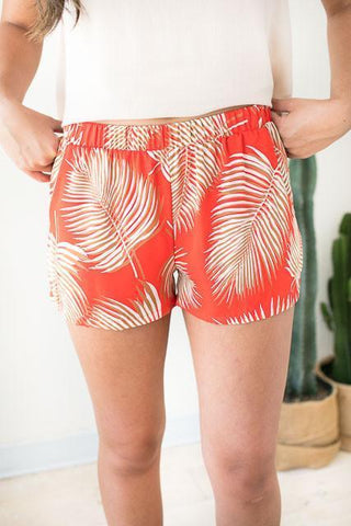 Island in the Sun Palm Print Shorts - Red