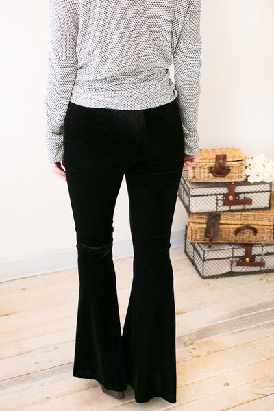 Bottoms - Jazzy Belle Velvet Flares- Black