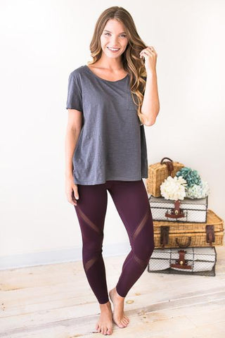 Rise Above Mesh Detail Athletic Pants in Plum