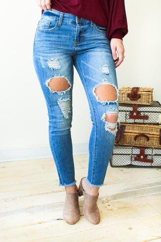 Rough Around The Edges Light Wash Distressed Skinny Jeans