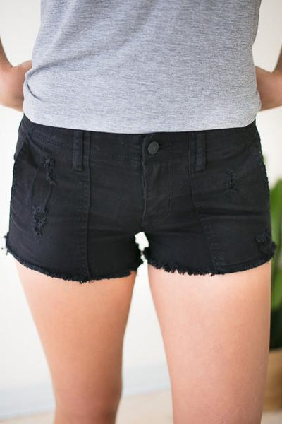 Bottoms Shake It Up Distressed Black Shorts - Lotus Boutique