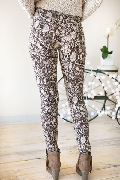 Bottoms Snake's Path Taupe Jeggings - Lotus Boutique