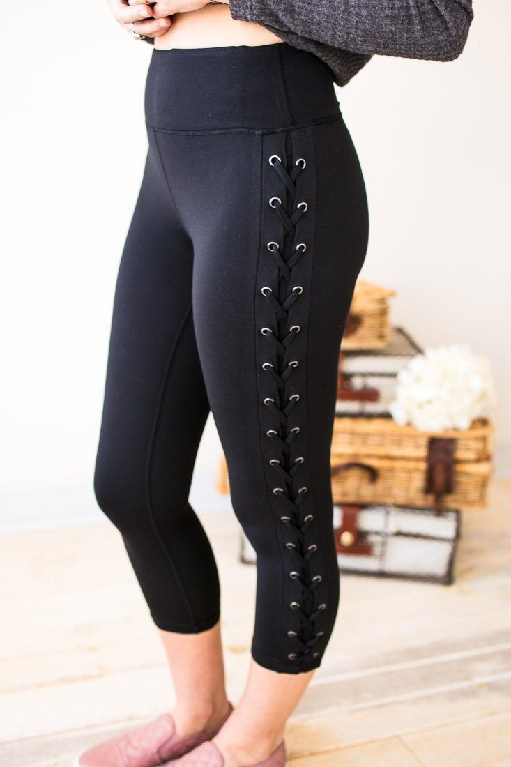 Bottoms - Without A Lace High Waist Legging- Black