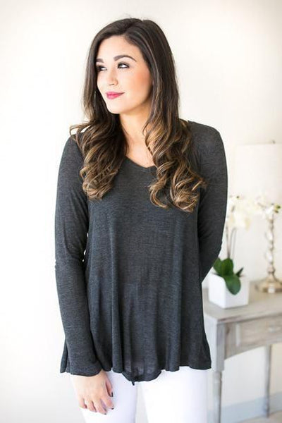 Don't Let Go Basic Charcoal Top-Tops-Lotus Boutique-Lotus Boutique