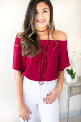 Classic Case Magenta Off The Shoulder Top