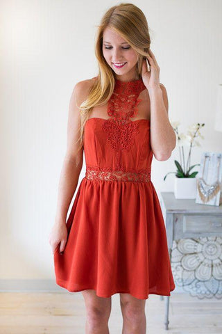 Beautiful Disaster Burnt Orange Dress