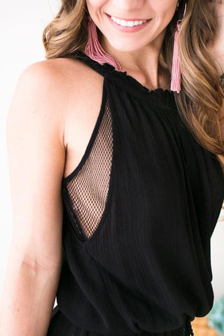 Amelia Flowy Mesh Black Dress