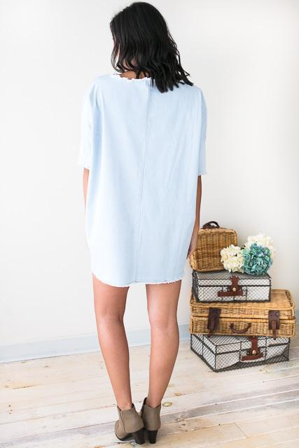 Dresses At the Tailgate Light Wash Denim Dress - Lotus Boutique