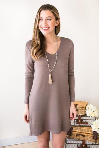 Bet My Heart Basic Mocha T Shirt Dress