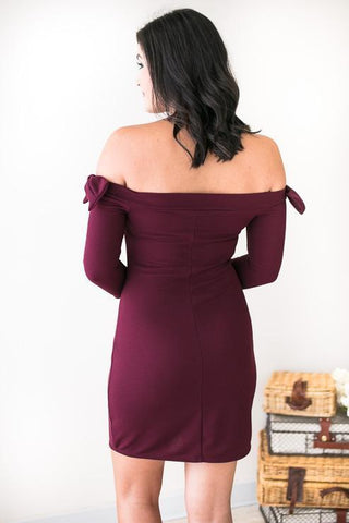 Bows on Burgundy Bodycon Dress