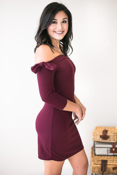 Dresses Bows on Burgundy Bodycon Dress - Lotus Boutique