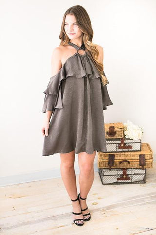 Charcoal Soul with Ruffles Dress