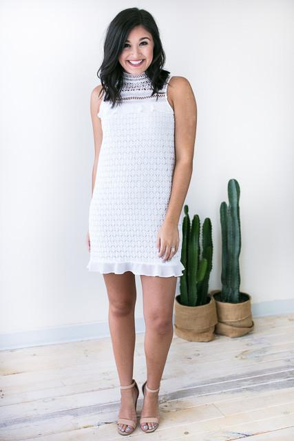 Dresses - Come To Me White Lace Dress