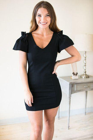 Dance with Me Ruffle Sleeve Bodycon Dress - Black
