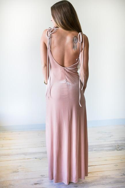 Dresses Deja Vu Blush Velvet Maxi Dress with Slit - Lotus Boutique