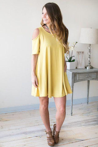 Delta Dawn Cold Shoulder T Shirt Dress - Yellow