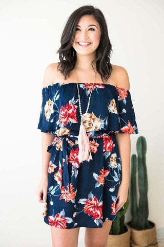 Don't Rush Off Shoulder Floral Dress