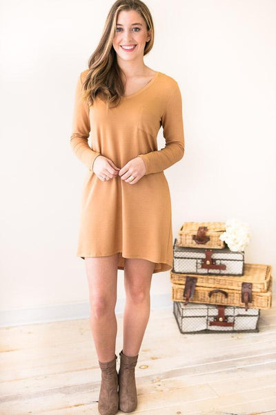 Dresses Easy Love Long Sleeve T-shirt Dress- Almond - Lotus Boutique