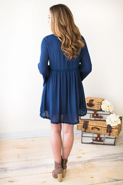 Dresses Faithfully Bell Sleeve Navy Dress - Lotus Boutique