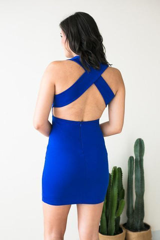 First Take X Back Bodycon Dress - Blue
