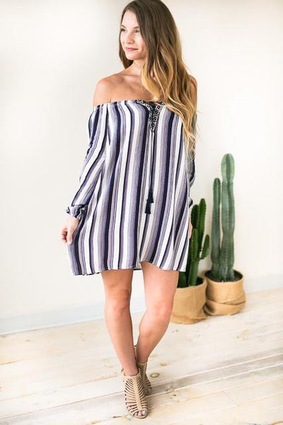 Dresses Girls in the Sun Stripe Off Shoulder Dress - Lotus Boutique